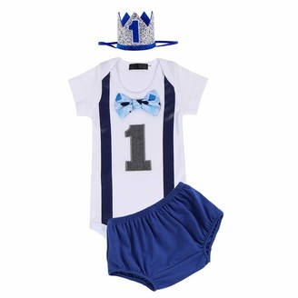 Fymnsi Infant Baby Boy 1st First Birthday Cake Smash Outfit Bow Tie Short Sleeve Romper Babygrow Shorts Pants Prince Crown Headband 3pcs Summer Casual Party Clothes Set Photo Props Black 01 1 Year
