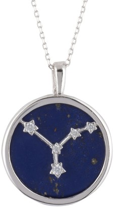 Latelita Zodiac Lapis Lazuli Gemstone Star Constellation Pendant Necklace Silver Cancer