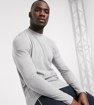 ASOS DESIGN Tall long sleeve t-shirt with crew neck in gray marl