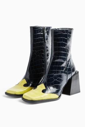 Topshop HEAVEN Leather Navy Block Boots