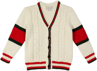 Gucci Cable-Knit Colorblock Cardigan, Size 4-12