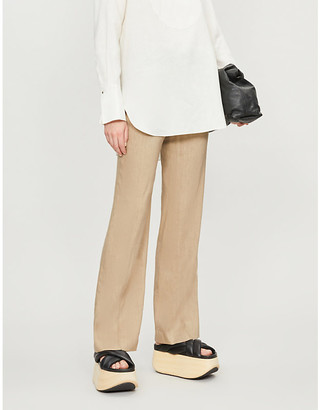 Joseph Tropez wide-leg high-rise linen-blend trousers