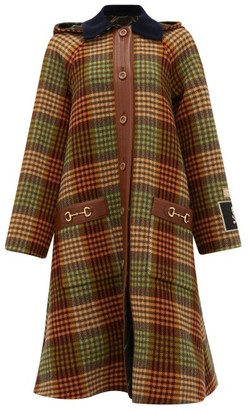 Gucci Single-breasted Patch & Horsebit Madras Coat - Womens - Black Orange
