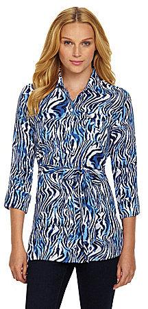 Foxcroft Zebra-Print Tie-Waist Tunic