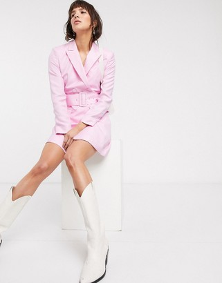 And other stories & belted blazer dress in powder pink