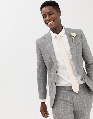 Moss Bros premium skinny suit jacket in 100% italian wool check-Grey