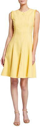Akris Punto Washed Cotton Denim Fit-and-Flare Dress