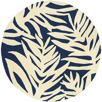 Bay Isle Home Wildermuth Palms Hand-Woven Navy/Beige Indoor/Outdoor Area Rug Rug Size: Round 7'10""