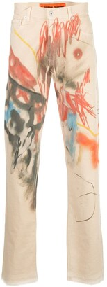 Heron Preston Slim-Fit Abstract Print Jeans