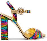 Dolce & Gabbana Crystal-embellished Sequined Metallic Leather Sandals - Gold
