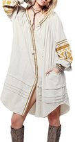 Liveinu Women's Loose Fit Boho Button Up Shirt Dress L