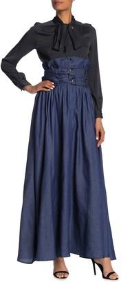 Tov Dual Belt Ultra High Waist Maxi Skirt