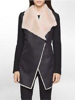 Calvin Klein Womens Faux Fur Suede Flyaway Jacket