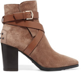 Tod's Leather-trimmed Suede Ankle Boots - Brown