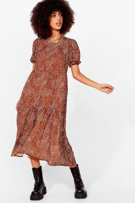 Nasty Gal Womens Acting All Spotty Tiered Maxi Dress - Brown - 6