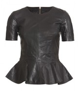 McQ by Alexander McQueen LEATHER TOP WITH PEPLUM