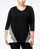 Belldini Plus Size Lace-Appliqué Colorblock Tunic Top