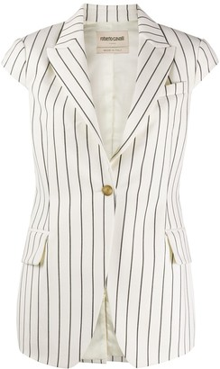 Roberto Cavalli striped cap-sleeve jacket