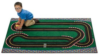"""Kids Value Rugs Green Super Speedway Racetrack Tufted Green Rug Rug Size: Rectangle 3' x 4'6"""""""