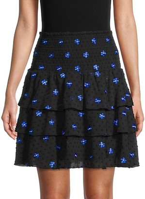 Maje Embroidered-Flower Ruffled Tiered Skirt