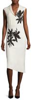 Narciso Rodriguez Silk Flower Printed Asymmetrical Sheath Dress