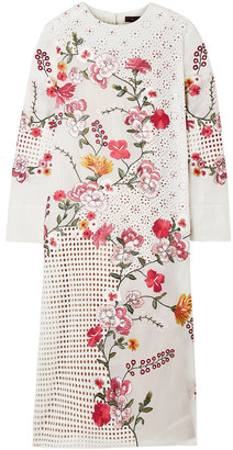 Biyan Apolonia Embellished Broderie Anglaise Cotton And Silk-blend Georgette Dress