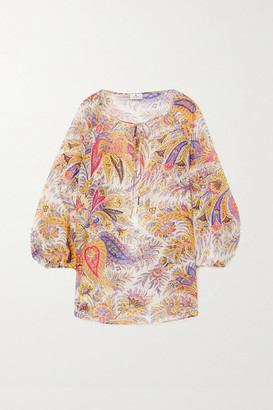 Etro Mykonos Paisley-print Cotton And Silk-blend Chiffon Blouse - White