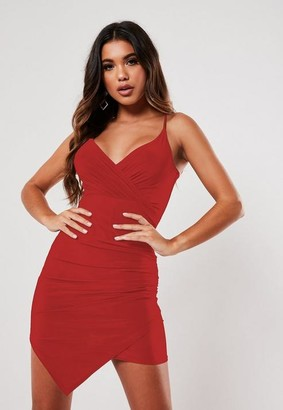 Missguided Red Slinky Strappy Wrap Cami Mini Dress