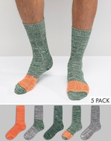 Asos Boot Socks With Color Block 5 Pack