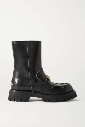 Gucci Harald Horsebit-detailed Embroidered Leather Ankle Boots