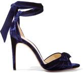 Alexandre Birman Clarita Bow-embellished Velvet Sandals - Navy