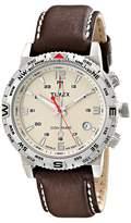 Timex Intelligent Quartz Adventure Series Compass Leather Strap Watch Watches