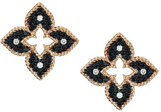 Roberto Coin Venetian Princess 18K Rose Gold, Black & White Diamond Petite Stud Earrings