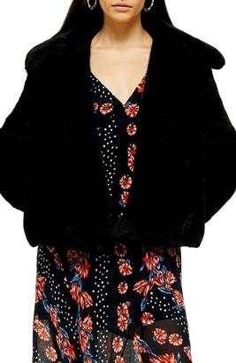 Topshop Anne Faux Fur Crop Coat