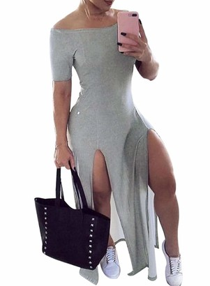 FIYOTE Women's Lightweight Knit Dress Solid Color Off Shoulder Bodycon High Split Club Midi Dress Black