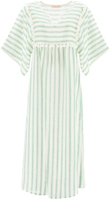 Tory Burch Striped Linen Caftan Dress