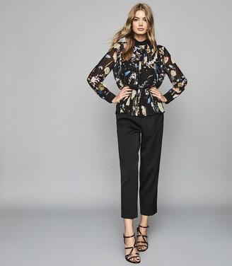 Reiss Kiri - Floral Print Chiffon Blouse in Black