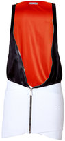 Paco Rabanne Colorblock Zipper Dress in Black/White