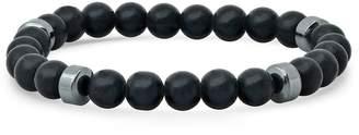 Steel By Design Steel by Design Black Lava & Hematite Bead Stretch Bracelet