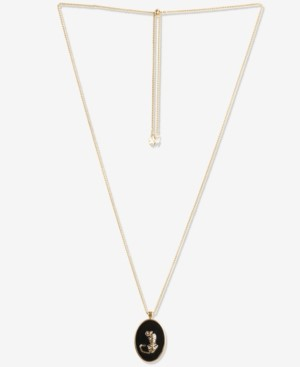 """Lucky Brand Gold-Tone Leopard Reversible 34"""" Adjustable Pendant Necklace"""