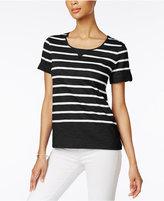 Karen Scott Striped Active Cotton T-Shirt, Created for Macy's