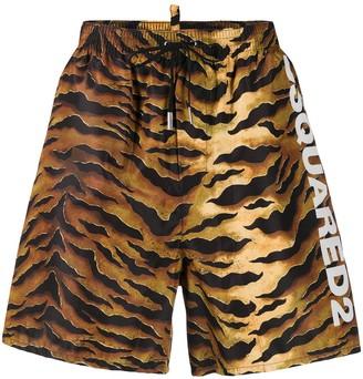 DSQUARED2 Tiger Stripe Printed Swim Shorts