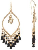 Shashi 18K Gold Vermeil Juliette Teardrop Imitation Pearl & Leaf Charm Tassel Chandelier Earrings
