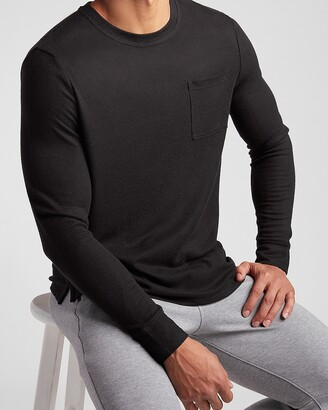 Express Solid Waffle Knit Long Sleeve Pocket T-Shirt