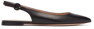 Gianvito Rossi Point-toe Leather Slingback Flats - Black
