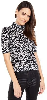 MICHAEL Michael Kors Cheetah Short Sleeve Turtleneck Top (Gunmetal) Women's Clothing
