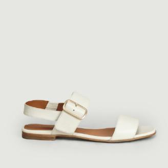 Anthology Paris - White Leather Wooden Effect Rosa Sandals - 36   white - White/White