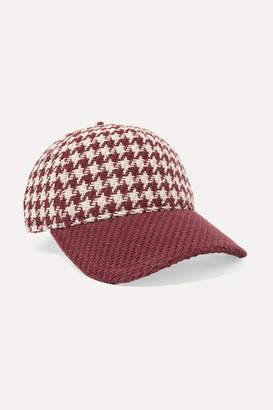 Rag & Bone Marilyn Leather-trimmed Houndstooth Cotton-tweed Baseball Cap - Red