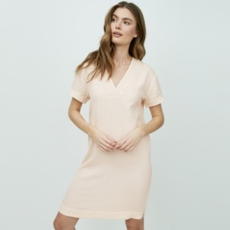 The White Company Double-Cotton Shift Dress, Pale Pink, 6