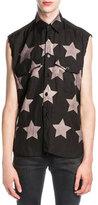 Saint Laurent Bleached-Star Sleeveless Shirt, Black